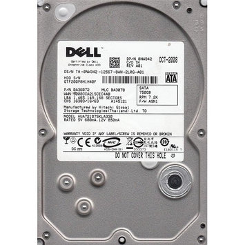DELL 750GB 7200RPM 3GB/SECOND DATA TRANSFER RATE SATA 3.5 INCH HARD DRIVE\x0ANEW BULK BARE DRIVE \x0A3 YEAR WARRANTY THRU TECH EXPERTS
