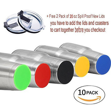 10PCS Non-Slip Silicone Coaster for 20 oz &30 oz YETI RTIC Ramblers Tumbler Cups, Eco-friendly and Durable, Waterproof
