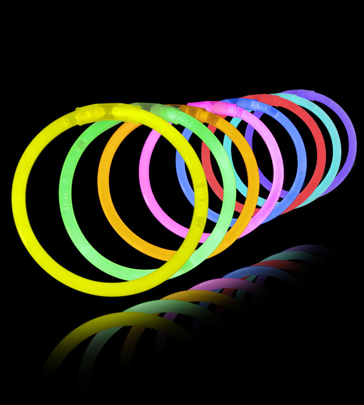 100 8 Premium Lumistick Glow Stick Bracelets (Assorted Colors)
