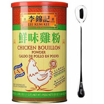 Lee Kum Kee Chicken Bouillon - Chicken Powder (35 oz) + One NineChef Spoon (2 Bottle)