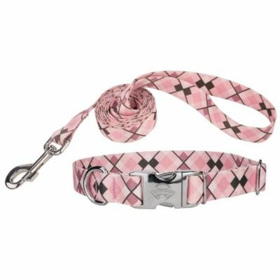 Country Brook Design® Pink and Brown Argyle Premium Collar & Leash