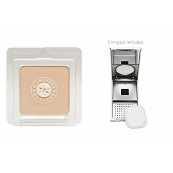 Honeybee Gardens Geisha Pressed Mineral Powder Foundation (0.26 oz) with Silver Mirrored Compact and Flocked Cotton Puff, Vegan and Eco-Friendly