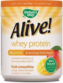Schwabe Alive Whey Protein Grass Fed Smoothie Mango Creme Nature's Way 0.84 lb Powder