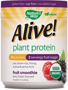 Schwabe Organic Alive Plant Protein Smoothie Berry Fusion Nature's Way 0.93 lb Powder