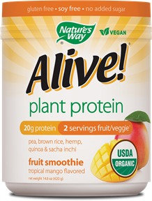 Schwabe Organic Alive Plant Protein Smoothie Tropical Mango Nature's Way 0.93 lb Powder