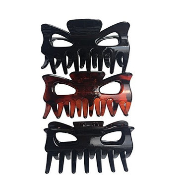 Falcon Claws Large Hair Claw Jaw Clips , 9 Count of 3.5 Inches , 3 Pack of 3 , Large Clips For Women And Girls