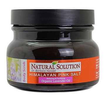 Best ORGANIC Exfoliating Body Scrub -SOOTHING LAVENDER with 100% Pure Himalayan Pink Salt by Natural Solution [Organic Lavender Oil]