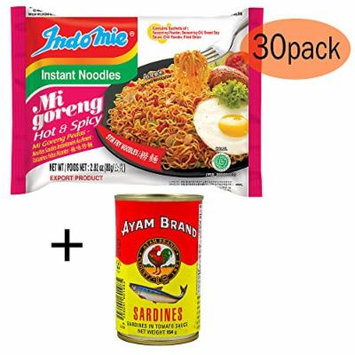 BONUS PACK - Indomie Instant Fried Noodles Spicy/Hot for 1 Case (30pcs) PLUS your BONUS of Sardines in Tomato Sauce (1x155g)