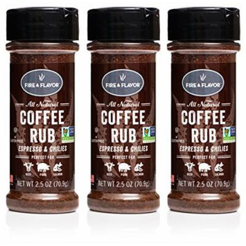 Fire & Flavor Coffee Rub 2.5oz, Pack of 3