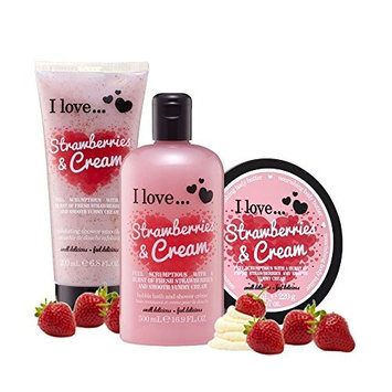 I Love. Strawberries & Cream Shower Gel, Shower Smoothie and Body Butter Trio Pack