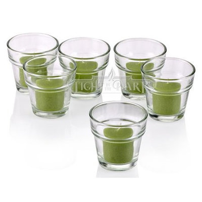 Light In The Dark Clear Glass Flower Pot Votive Candle Holders With Lime Green votive candles Set of 72
