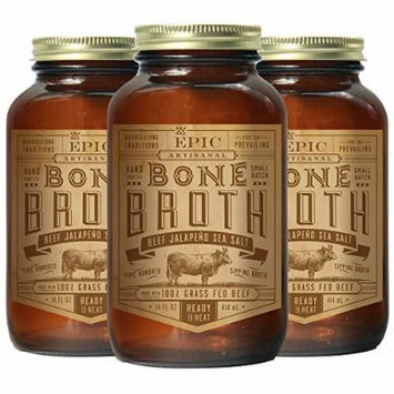 Epic Bone Broth, Beef Jalapeno Sea Salt, 14 Ounce (Pack of 3)