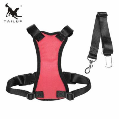 TAILUP Stylish New Pet Car Safety Chest Pet Supplies Wholesale Adjustable Safety Auto Car Seat Belt Dogs Harness Chest Straps,red