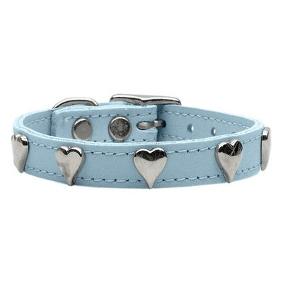 Mirage Pet Products 8315 10BBL Heart Leather Baby Blue 10