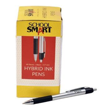 School Smart 1572360 0.7mm Pen Grip Hybrid Ink Black Metal - Pack of 48