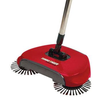 Tristar Products Turbo Tiger Sweeper - Hard Floor Rotating Brush Broom - Red