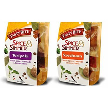 Tasty Bite Whole Spices, Marinade & Simmer Sauce 2 Flavor Variety Bundle: (1) Teriyaki, and (1) Szechuan, 9.5 Oz Ea