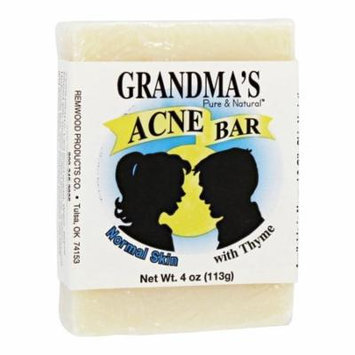 Remwood Products Co. - Grandma's Pure & Natural Acne Bar with Thyme for Normal Skin - 4 oz.(pack of 4)