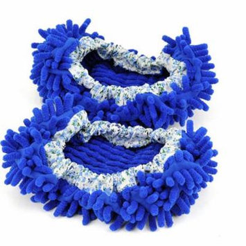 A Pair of House Floor Polishing Dusting Cleaning Foot Socks Shoes Mop Slippers (Blue)