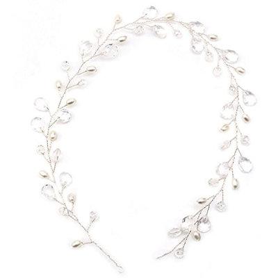 Richi Vintage Faux Crystal Pearl Tiara Drop Bridal Headband Wedding Hair Accessories 16.930.98in