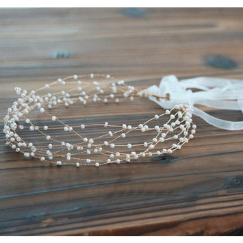 BABEYOND Bridal Headpiece Rhinestone Wedding Headband Pearl Vintage Wedding Hair Bands for Brides with Lace Ribbon