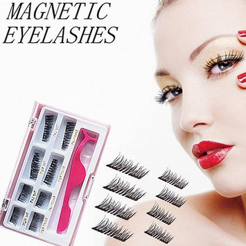 Upgraded Long Magnetic Eyelashes Plus Tweezers, Full Size and Half Size in One Set, 0.2mm Ultra Thin Magnetic False Eyelashes, 3D Reusable Fake Lashes, Natural Look 2 Pairs / 8 Pieces