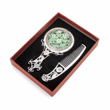 ALICE Silver Superb Antiqued Hand Mirror and Comb Set, Best Gift Set