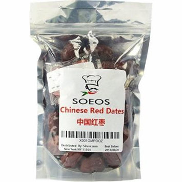 Soeos Big Dried Red Dates, Chinese Red Dates , Healthy Food, Healthy Snacks, Hongzao, 12 oz.