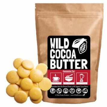 Raw Cocoa Butter Wafers (32 oz) by Wild Foods - Organically grown, Unrefined, Non-Deodorized, Food Grade, Fresh, Excellent For Cooking and Skincare