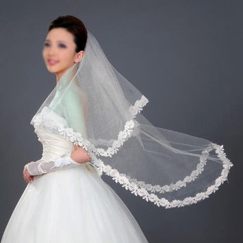 HuaYang Ivory Wedding Bridal Elbow Satin Lace Edge Veil
