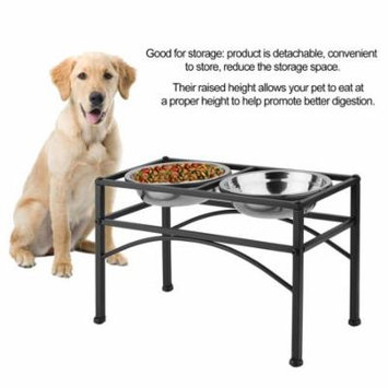 Double Stainless Steel Bowls Elevated Raised Pet Dog Feeder Solve Back Spine Problems Dispenser Bowl Dish Food Water Stand