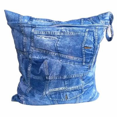 Portable Washable Reusable Waterproof Zippered Baby Cloth Diaper Nappy Bag Wet Dry Bag Tote with Soft Snap Handle (Denim Blue)