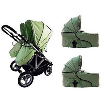 stroll-air 2013 my duo stroller with 2 bassinets (green)