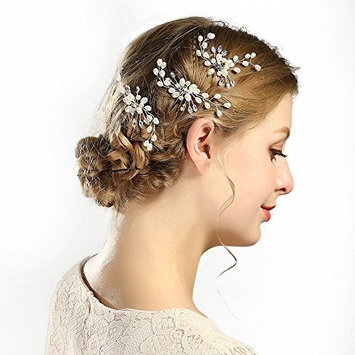 Urberry 3 Pack Wedding Bridal Crystal Pearl Hair Pins Decorated Hairpins for Women and Girls