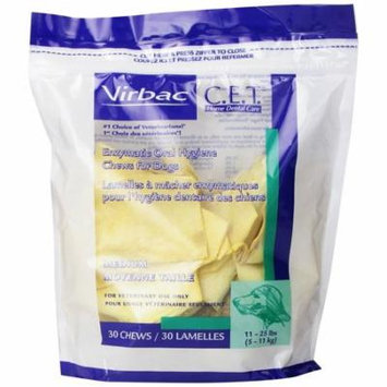 C.E.T. Enzymatic Oral Hygiene Chews, Medium Dog, 30 Count, Combines natural antiseptic activity with abrasive action for clinically proven plaque.., By Virbac