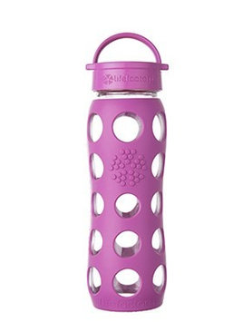Glass Bottle with Classic Cap & Silicone Sleeve Huckleberry Lifefactory 22 oz Bottle