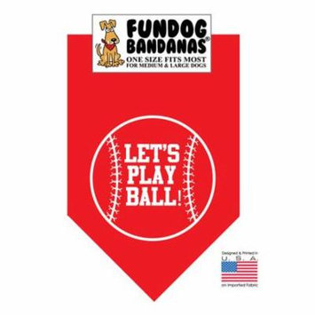 Fun Dog Bandana - Let's Play Ball - One Size Fits Most for Med to Lg Dogs, red pet scarf