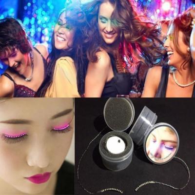 1 Pair LED Glowing Eyelashes Luminous False Eyelashes Luminous Eyelashes Waterproof Fake Eyelashes For Party For Costume, Pink Light