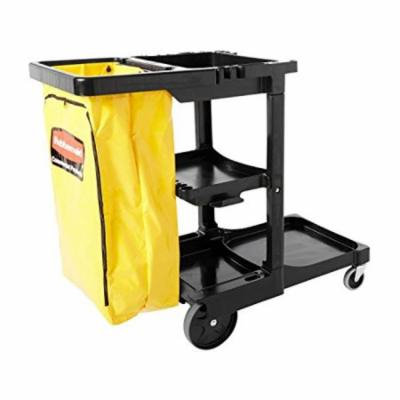 Rubbermaid Commercial Housekeeping 3-Shelf Cart with Zippered Yellow Vinyl Bag, Black (FG617388BLA)