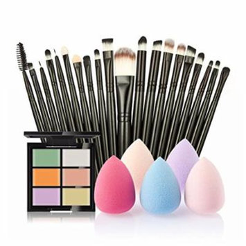 ♥ Nation 6-Color Concealer +20 Makeup Brush + Water Powder Puff - A