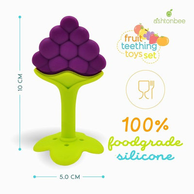 Baby Teether Toys (4 Pack) - Soft Silicone Fruit Teething Toys Set For Toddlers & Infants, Baby Gum Massager by Ashtonbee