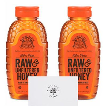 Nature Nate's 100% Pure Raw & Unfiltered Honey (2 Pack) in Dependable Packaging to Prevent Breakage with LP card - LP Bundle (Original, 16 Ounce (Set of 2))