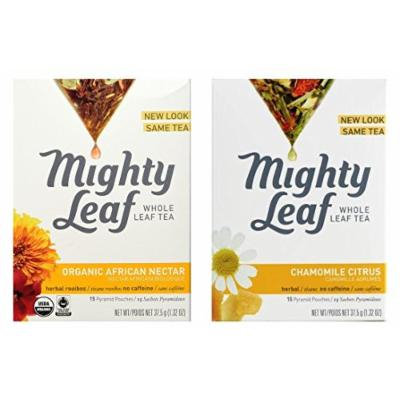 Mighty Leaf Herbal Infusion Tea 2 Flavor Variety Bundle, 1 each: Organic African Nectar and Chamomile Citrus (15 Count)