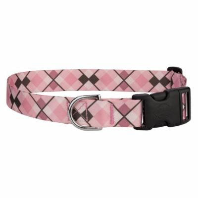 Country Brook Petz® Pink and Brown Argyle Featherweight Deluxe Dog Collar
