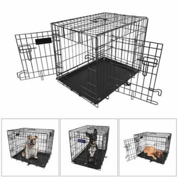 iMounTEK [Folding Metal] Dog Crate /Cage / Kennel with Tray. [Puppies; Adult Dogs; Cats] 2 Doors Wire Cage [Rust Resistant] Quick Assembly! (M / 30in.)