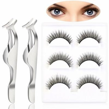 PIXNOR 2pcs Professional False Eyelashes Extension Applicator Remover Clip Tweezers Nipper & 6pcs False Eyelashes