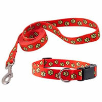 Country Brook Design® Red Busy Paws Deluxe Collar & Leash