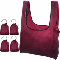 EcoJeannie® 4 Pack Super Strong Ripstop Nylon Foldable Reusable Bag Grocery Shopping Tote Bag with built-in Pouch, Wine & Wine & Wine & Wine