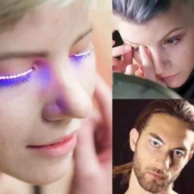 1 Pair LED Eyelashes, Luminous False Eyelashes Luminous Glowing Eyelashes Waterproof Fake Eyelashes For Party For Costume, Blue Light