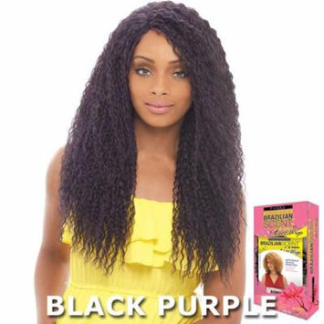 Janet Brazilian Scent Human Hair Blend Lace Front Wig - BOUNCE COIL (BLACK BLUE)